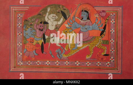 Ten-armed Devi annihilating demons .  English: Ten-armed Devi annihilating demons - Unknown, Miniature Painting, Kashmir School - Google Cultural Institute. Paper. 41 x 26 cm. The lion-riding ten-armed Devi holding in her hands a sword, goad, mace, conch, rosary, decapitated human head, tongs, lotus, shield, and wine-cup, is on charge against demons, perhaps of the Raktabija clan. Some already killed lay under her lion's feet while many more, as if emerged out of the soil, face her. Roktabija had powers to recreate a new Raktabija demon out of each drop of his blood that fell on the earth. Var - Stock Photo