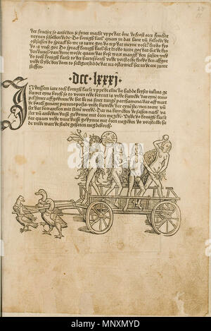 . Illustration from the incunabulum: Cronecken der Sassen (The Chronicles of Saxony) printed by Peter Schöffer in Mainz. 1492. Conrad Bote (Konrad Botho) 1170 The Chariot of Venus p00039 - Stock Photo