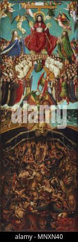 Crucifixion and Last Judgement diptych .  English: Jan van Eyck, The Crucifixion: The Last Judgment, ca. 1430 Right Panel Español: Jan van Eyck, La crufixión: El juicio final, c. 1430 Panel derecho . circa 1430.   1171 The Crucifixion; The Last Judgment-2 - Stock Photo