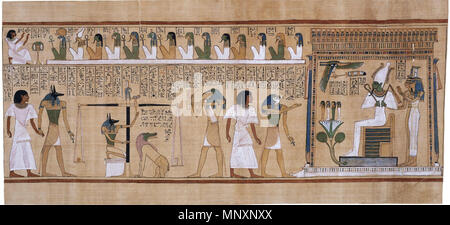 . English: 'This is an excellent example of one of the many fine vignettes (illustrations) from the Book of the Dead of Hunefer. The scene reads from left to right. To the left, Anubis brings Hunefer into the judgement area. Anubis is also shown supervizing [sic] the judgement scales. Hunefer's heart, represented as a pot, is being weighed against a feather, the symbol of Maat, the established order of things, in this context meaning 'what is right'. The ancient Egyptians believed that the heart was the seat of the emotions, the intellect and the character, and thus represented the good or bad - Stock Photo