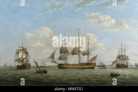 1189 Thomas Luny - Men-of-War HMS 'Maria Anna', 'Earl of Chatham' and 'Achilles' off a coastal town