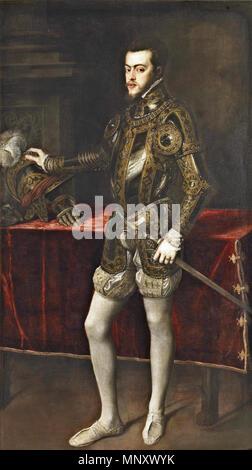 .   1195 Titian - Portrait of Philip II in Armour - WGA22970 - Stock Photo
