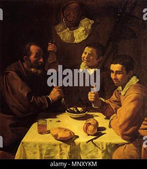 1204 Tres hombres sentados a la mesa, by Diego Velázquez - Stock Photo