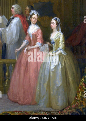 The Wedding of Stephen Beckingham and Mary Cox   1729.   1253 Wedding of Stephen Beckingham and Mary Cox, 1729 by William Hogarth, detail - Stock Photo
