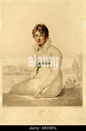 . English: William Blake: Mrs. Q. (Mrs. Harriet Quentin) 1820 engraving ibased upon a portrait by Francois Huet Villiers The British Museum With Blake's name in the plate. Ref: Essick XLII ii/ii S 356 x 259 mm; P 351 x 250 mm; I 295 x 230 mm Stipple engraving by William Blake, with etching and mezzotint – printed in colours and coloured by hand. Mrs.Q is probably the best known decorative print executed by William Blake, primarily due to the large number of facsimile reproduction impressions which were printed of this image in 1806. William Blake's engraving is based upon a portrait by Francoi - Stock Photo