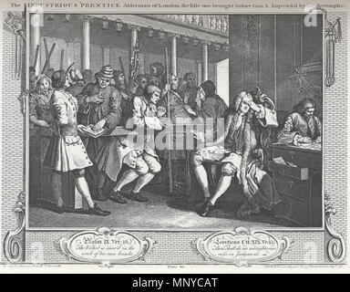 . English: William Hogarth - Industry and Idleness, Plate 10; The Industrious 'Prentice Alderman of London, the Idle on brought before him & Impreach'd by his Accomplice . 18th century.   William Hogarth (1697–1764)   Description British painter and engraver  Date of birth/death 10 November 1697 25 October 1764  Location of birth/death London London  Work location London, Chiswick  Authority control  : Q171344 VIAF:17268409 ISNI:0000 0001 2099 3749 ULAN:500004242 LCCN:n80126106 NLA:35201047 WorldCat 1266 William Hogarth - Industry and Idleness, Plate 10; The Industrious 'Prentice Ald - Stock Photo