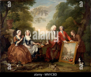 Conversation Piece (Portrait of Sir Andrew Fountaine with other Men and Women) . Andrew Fountaine (1676-1753) . between circa 1730 and circa 1735.   1266 William Hogarth - Portrait of Sir Andrew Fountaine with other people - Stock Photo