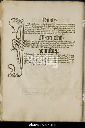 . Illustration from the incunabulum: Cronecken der Sassen (The Chronicles of Saxony) printed by Peter Schöffer in Mainz. 1492. Conrad Bote (Konrad Botho) 1273 Woodcut Typography p00512 - Stock Photo