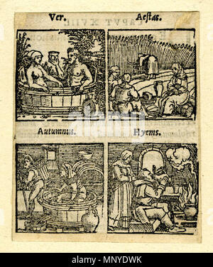 . English: Printed in two rows on the same sheet with the Latin titles above each woodcut in italics. Spring (Pauli 1214): a man and a woman sitting in a large wooden bath in the open air. Summer (1216): three peasant having lunch in a cornfield, another woman reaping. Autumn (Pauli 1217): A man treading grapes in a wine-press, another walking away with a wooden basket. Winter (Pauli 1211): A man sitting in front of a fire, drinking from a jug, a woman standing behind him. Illustration to Johannes Curio and Jakob Crell, 'De conservanda bona valetudine...', Frankfurt: Chr. Egenolph, 1553. Woodc - Stock Photo