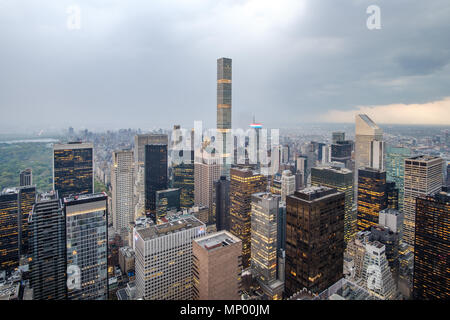 Aerial view of Manhattan skyscrapers during a rainstorm. New York City, USA. May 3, 2018. - Stock Photo