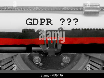 GDPR text that means General Data Protection Regulation is a regulation in EU law on data protection and privacy for all individuals within the Europe - Stock Photo