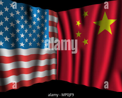 USA and China. Waving perspective flags of the United States of America and China together on dramatic black background - Stock Photo