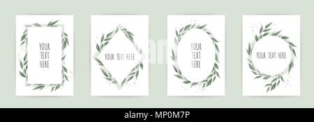 set botanic card with wild flowers, leaves. Floral poster, invite. - Stock Photo