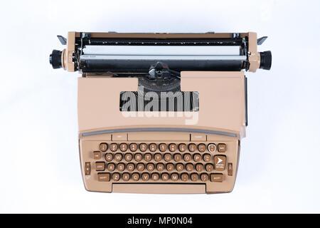 Old Vintage Typewriter isolated on a white background - Stock Photo