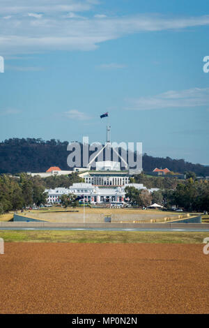 View of Parliament House from Anzac Parade, Canberra, ACT, Australia - Stock Photo