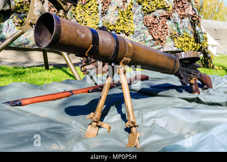 World war two British Lewis gun at a popular salute to the 40s day at Sandwich, England. - Stock Photo