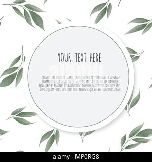 Botanic card with leaves. Floral poster, invite. - Stock Photo