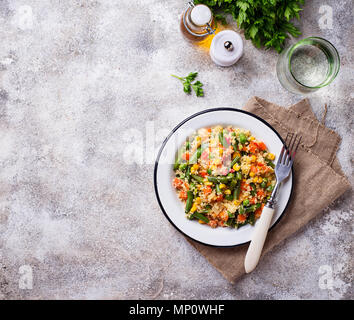 Vegetarian dish couscous with vegetables - Stock Photo