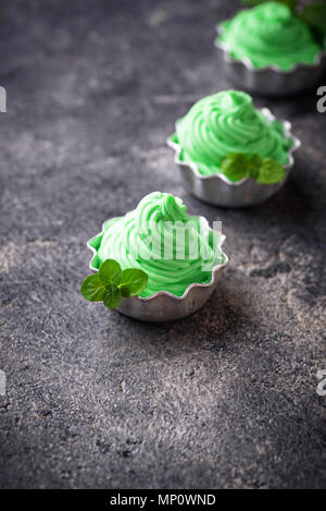 Mint ice cream in bowls - Stock Photo
