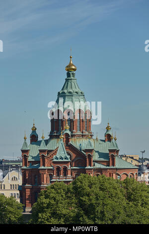Uspenski Cathedral, an Eastern Orthodox cathedral in Helsinki, Finland, dedicated to the Dormition of the Theotokos (the Virgin Mary). - Stock Photo