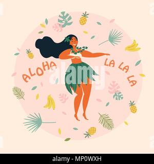Hula dancer hawaiian girl illustration. Luau fest - Stock Photo