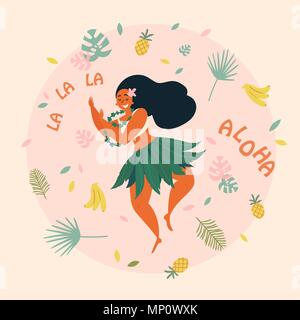 Aloha. Hawaiian holidays poster with Hula dancer - Stock Photo