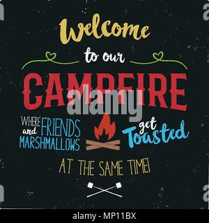 Vintage typography poster Illustration. Welcome to our campfire with Grunge effect. Funny T-Shirt design with camping symbols - bonfire and marshmallow. Stock vector - Stock Photo