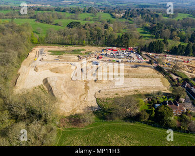 Aerial views of Redrow Homes development- Penlands Green, located in Haywards Heath, West Sussex, UK - Stock Photo