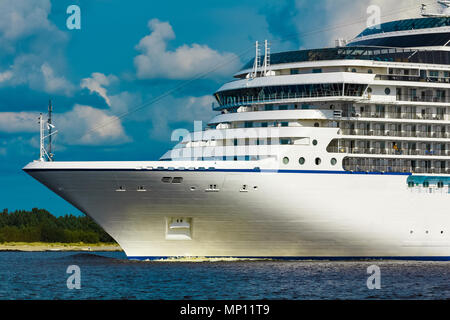 Luxury cruise liner underway. Tour travel and spa services - Stock Photo