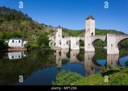 Valentre bridge in Cahors, Lot department, Occitanie, France - Stock Photo