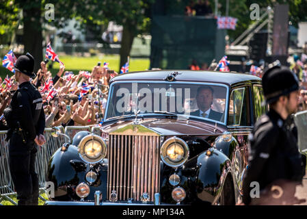 19 May 2018 - Prior to the royal wedding in Windsor castle to Prince Harry, Meghan Markle's mother, Doria Ragland, travelled with her to Windsor castle by car. Doria was photographed crying in the car. - Stock Photo