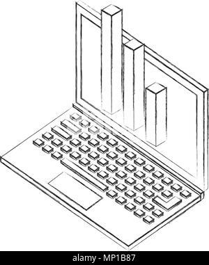 laptop statistic financial chart isometric design