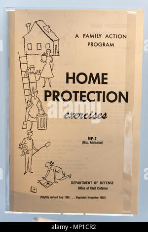 A booklet from the Cold War describing Home Protection Exercises in case of nuclear attack - Stock Photo