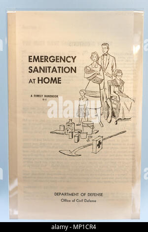A booklet from the Cold War describing Emergency Home Sanitation in case of nuclear attack - Stock Photo