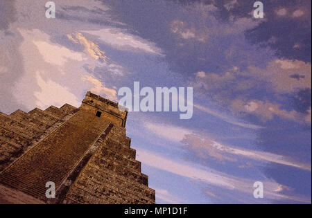 Chichen Itza, El Castillo (The Castle) or Kukulcan's Pyramid, general view with dramatic sky and clouds at sunset (rendered in PS), Yucatan, Mexico - Stock Photo