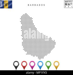 Vector Dotted Map of Barbados. Simple Silhouette of Barbados. National Flag of Barbados. Set of Multicolored Map Markers - Stock Photo