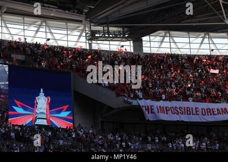 London, UK. 19th May 2018. Manchester United fans .The Emirates FA Cup final 2018,  Chelsea v Manchester United at Wembley Stadium in London on  Saturday 19th May 2018.  this image may only be used for Editorial purposes. Editorial use only, license required for commercial use. No use in betting, games or a single club/league/player publications. pic by Andrew Orchard/Andrew Orchard sports photography/Alamy Live news - Stock Photo
