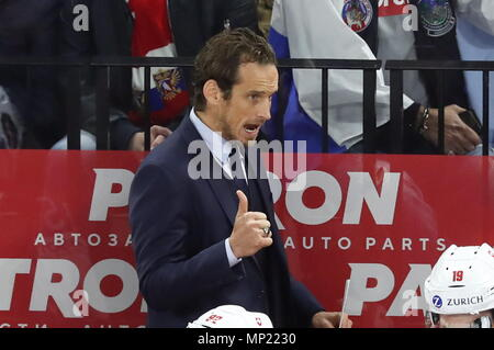 Copenhagen, Denmark. 20th May, 2018. COPENHAGEN, DENMARK - MAY 20, 2018: Switzerland's head coach Patrick Fischer gestures in the 2018 IIHF Ice Hockey World Championship final match against Sweden at Royal Arena. Anton Novoderezhkin/TASS Credit: ITAR-TASS News Agency/Alamy Live News - Stock Photo
