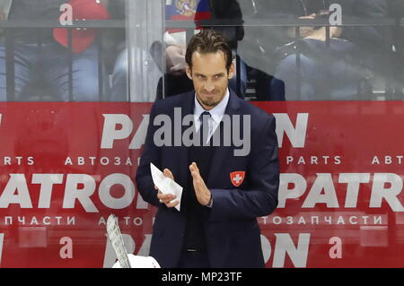 Copenhagen, Denmark. 20th May, 2018. COPENHAGEN, DENMARK - MAY 20, 2018: Switzerland's head coach Patrick Fischer looks on in their 2018 IIHF Ice Hockey World Championship final match against Sweden at Royal Arena. Anton Novoderezhkin/TASS Credit: ITAR-TASS News Agency/Alamy Live News - Stock Photo