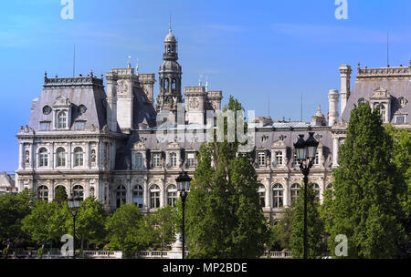 The Hotel de Ville in Paris, France, is the building housing the city local administration. - Stock Photo