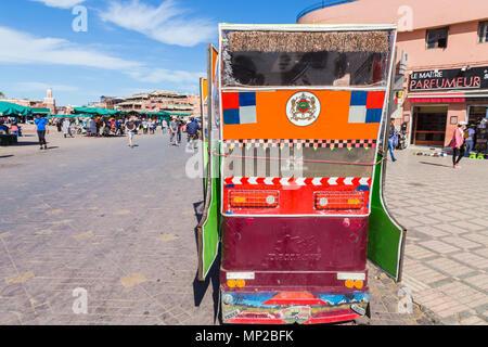 A medina taxi in Jamaa el fna square, Marrakech, Morocco. - Stock Photo