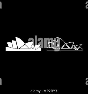 sydney opera house icon set white color vector illustration flat style simple image outline mp2by3 - 37+ Outline Picture Of Sydney Opera House  Images