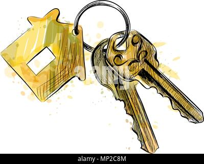 Vector bunch of keys with house shaped trinket - Stock Photo