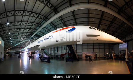 British Airways Concorde on display in hanger at National Museum of Flight at East Fortune Airfield in East Lothian, Scotland, United Kingdom - Stock Photo