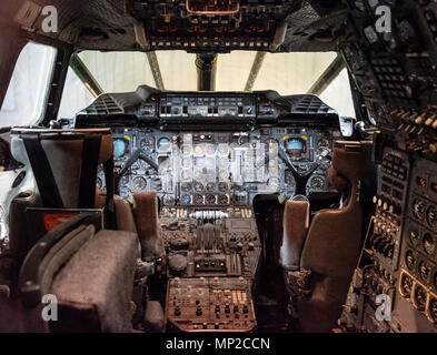 Cockpit interior of British Airways Concorde on display in hanger at National Museum of Flight at East Fortune Airfield in East Lothian, Scotland, Uni - Stock Photo