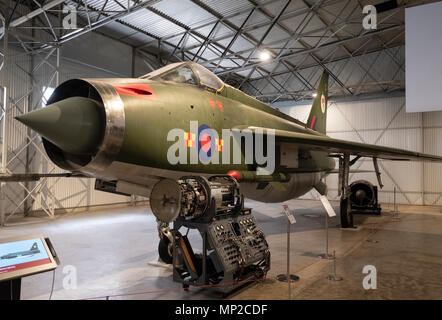 English Electric Lightning on display at National Museum of Flight at East Fortune Airfield in East Lothian, Scotland, United Kingdom - Stock Photo