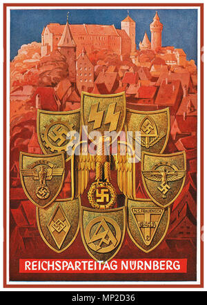 1930's Vintage Poster Nazi 'Reichsparteitage' propaganda events, with Adolf Hitler's rise to power in 1933. These events were held at the Nazi party rally grounds in Nuremberg from 1933 to 1938 and are usually referred to in English as the 'Nuremberg Rallies'. - Stock Photo