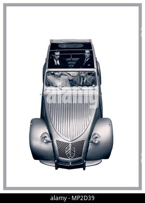 VINTAGE FRENCH AUTOMOBILE 1950's Citroën 2CV deux chevaux 1959 typical notable family French car on white background for French press advertising - Stock Photo