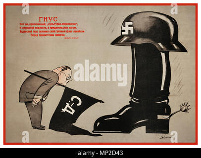 Vintage WW2 1940's Soviet USSR Russian propaganda poster titled  'The Gnat,' showing a flag carrying Japanese diplomat bowing to a Nazi German soldiers jackboot and Waffen SS helmet with swastika. Lithograph by V. Deni - Stock Photo