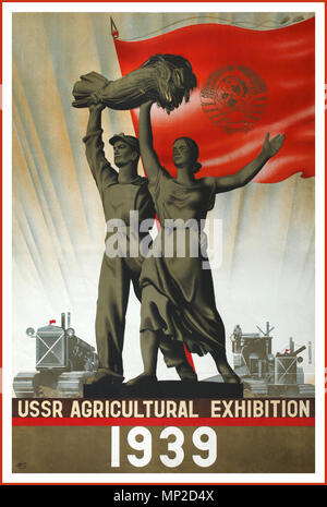 1939 Vintage Propaganda Intourist graphic industry Travel Poster promoting 1939 Union Agricultural Exhibition. Russian male and female holding aloft a bale of farmed wheat... Lithograph by artist Viktor Semyonovich Klimashin - Stock Photo